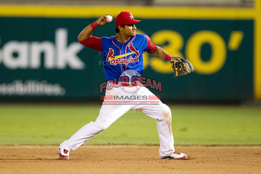 Donovan Solano (11) of the Springfield Cardinals on defense during a game against the Corpus Christi Hooks at Hammons Field on August 13, 2011 in Springfield, Missouri. Springfield defeated Corpus Christi 8-7.  (David Welker / Four Seam Images)