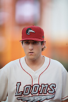 Great Lakes Loons Justin Hagenman (32) during a Midwest League game against the Clinton LumberKings on July 19, 2019 at Dow Diamond in Midland, Michigan.  Clinton defeated Great Lakes 3-2.  (Mike Janes/Four Seam Images)