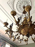 BNPS.co.uk (01202) 558833. <br /> Pic: Duke's/BNPS<br /> <br /> Pictured: An important Empire giltwood and gilt metal chandelier, c 1820. <br /> <br /> The lavish contents of one of Britain's most beautiful stately homes have sold for almost £2million after capturing high society's imagination.<br /> <br /> Over 1,600 items were auctioned off from Wormington Grange, a neoclassical mansion in the Cotswolds, during the hotly contested three-day sale.<br /> <br /> The sale included what the auctioneers described as the 'most important' collection of country house furniture to emerge on the market for decades.