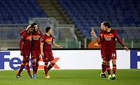Football Soccer: Europa League -Round of 16 1nd leg AS Roma vs FC Shakhtar Donetsk, Olympic Stadium. Rome, Italy, March 11, 2021.<br /> Roma's captain Lorenzo Pellegrini (second L) celebrates after scoring with his teammates during the Europa League football soccer match between Roma and  Shakhtar Donetsk at Olympic Stadium in Rome, on March 11, 2021.<br /> UPDATE IMAGES PRESS/Isabella Bonotto