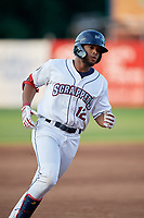 Mahoning Valley Scrappers George Valera (12) runs the bases after hitting a home run during a NY-Penn League game against the Hudson Valley Renegades on July 15, 2019 at Eastwood Field in Niles, Ohio.  Mahoning Valley defeated Hudson Valley 6-5.  (Mike Janes/Four Seam Images)