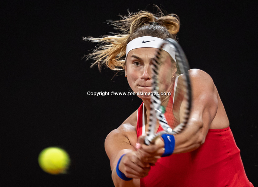 The Hague, The Netherlands, Februari 8, 2020,    Sportcampus, FedCup  Netherlands -  Balarus, First match on Saturday:  Aryna Sabalenka (BLR)<br /> Photo: Tennisimages/Henk Koster