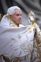 Pope Benedict XVI celebrates vespers in St Peter's Basilica at the Vatican on December 31, 2009.