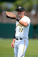 Bradenton Marauders first baseman Chris Lashmet #27 warms up before a game against the Fort Myers Miracle at McKechnie Field on April 7, 2013 in Bradenton, Florida.  Fort Myers defeated Bradenton 9-8 in ten innings.  (Mike Janes/Four Seam Images)