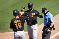 Pittsburgh Pirates Gregory Polanco (25) celebrates with Colin Moran (19) after hitting a home run during a Major League Spring Training game against the Baltimore Orioles on February 28, 2021 at Ed Smith Stadium in Sarasota, Florida.  (Mike Janes/Four Seam Images)