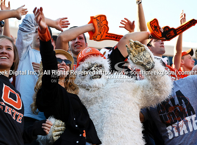 Oklahoma State Cowboys fans in action during the game between the Baylor Bears and the Oklahoma State Cowboys at the Boone Pickens Stadium in Stillwater, OK. Oklahoma State defeats Baylor 59 to 24.