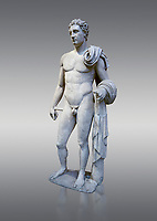The 'Atalante Hermes' Roman marble statue found at Atalante. 2nd Cemt AD copy of the 4th cent BC Lysippean Greek style. Athens Archaeological Museum, cat no 240. Against grey<br /> <br /> Funserary statue of a youth depicted as Hermes. He is shown nude with his chlamys over his shoulder and wound around his right arm. In his left hand he holds a 'caduceus'.