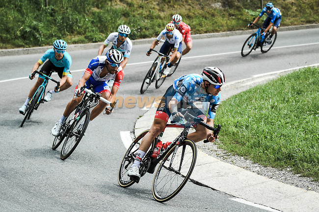 Polka Dot Jersey David de la Cruz (ESP) UAE Team Emirates lead Thibaut Pinot (FRA) Groupama-FDJ, Miguel Angel lopez Moreno (COL) and Alexey Lutsenko (KAZ) Astana descend during Stage 5 of Criterium du Dauphine 2020, running 153.5km from Megeve to Megeve, France. 16th August 2020.<br /> Picture: ASO/Alex Broadway   Cyclefile<br /> All photos usage must carry mandatory copyright credit (© Cyclefile   ASO/Alex Broadway)
