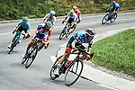 Polka Dot Jersey David de la Cruz (ESP) UAE Team Emirates lead Thibaut Pinot (FRA) Groupama-FDJ, Miguel Angel lopez Moreno (COL) and Alexey Lutsenko (KAZ) Astana descend during Stage 5 of Criterium du Dauphine 2020, running 153.5km from Megeve to Megeve, France. 16th August 2020.<br /> Picture: ASO/Alex Broadway | Cyclefile<br /> All photos usage must carry mandatory copyright credit (© Cyclefile | ASO/Alex Broadway)