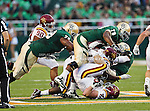 Baylor Bears guard Ivory Wade (78) and Iowa State Cyclones defensive end Jake Lattimer (48) in action during the game between the Iowa State Cyclones and the Baylor Bears at the Floyd Casey Stadium in Waco, Texas. Baylor defeats Iowa State 49 to 26.