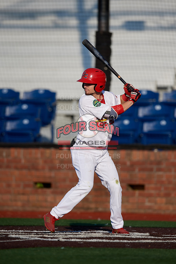 Johnson City Cardinals right fielder Brandon Riley (32) at bat during a game against the Danville Braves on July 29, 2018 at TVA Credit Union Ballpark in Johnson City, Tennessee.  Johnson City defeated Danville 8-1.  (Mike Janes/Four Seam Images)