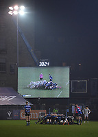 8th January 2021; Recreation Ground, Bath, Somerset, England; English Premiership Rugby, Bath versus Wasps; Ben Spencer of Bath feeds the ball into a scrum displayed on the large screen