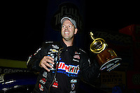 Sept. 16, 2012; Concord, NC, USA: NHRA pro stock driver Jason Line celebrates after winning the O'Reilly Auto Parts Nationals at zMax Dragway. Mandatory Credit: Mark J. Rebilas-