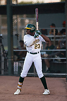 AZL Athletics left fielder Lawrence Butler (23) on deck during an Arizona League game against the AZL Giants Orange at Lew Wolff Training Complex on June 25, 2018 in Mesa, Arizona. AZL Giants Orange defeated the AZL Athletics 7-5. (Zachary Lucy/Four Seam Images)