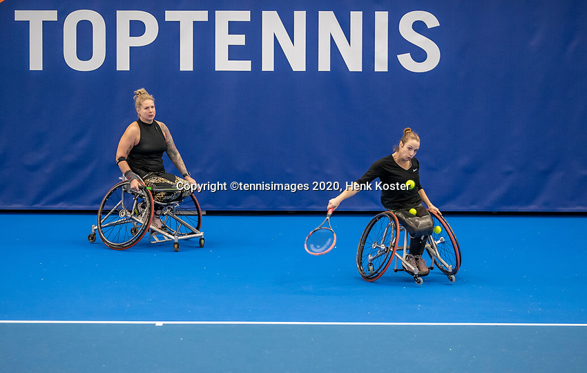 Amstelveen, Netherlands, 12  December, 2020, National Tennis Center, NTC, NKR, National   Indoor Wheelchair Tennis Championships, Women's Doubles Final :  Jiske Griffioen (NED) and Michaela Spaanstra (NED) (L)<br /> Photo: Henk Koster/tennisimages.com