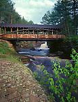 Amnicon Falls State Park, WI<br /> Covered bridge over the Amnicon River - summer