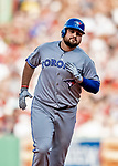 Jun 22, 2019; Boston, MA, USA; Toronto Blue Jays first baseman Rowdy Tellez rounds the bases after hitting a solo home run in the 7th inning against the Boston Red Sox at Fenway Park. Mandatory Credit: Ed Wolfstein-USA TODAY Sports
