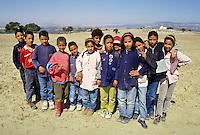 Tunisia, Le Kef.  School Children outside Le Kef.