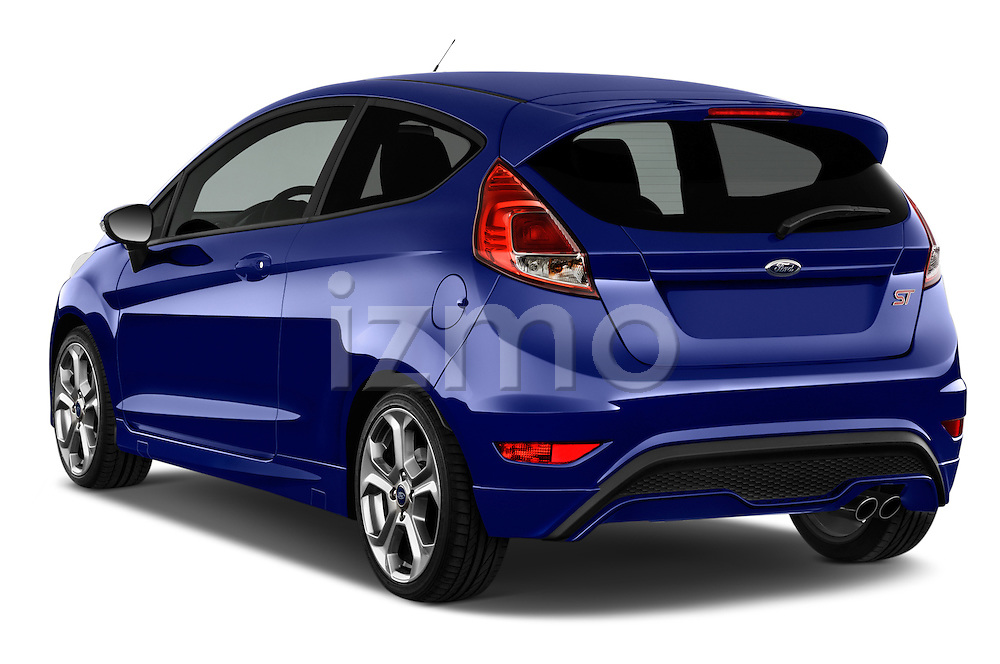 Car pictures of rear three quarter view of a 2014 Ford FIESTA ST MT 2WD 3 Door Hatchback 2WD Angular Rear