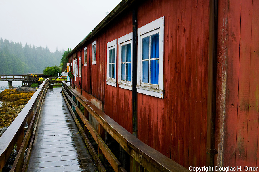 A boardwalk fronts the entire waterfront of the fishing village of Bamfield, located on the south side of Albernie Inlet, Vancouver Island, British Columbia, Canada.  Bordering one unit of Canada's Pacific Rim National Park and surrounded by rain forest.