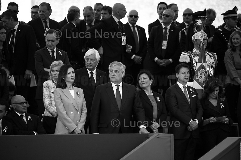 """(From L to R) Mara Carfagna MP (Forza Italia), Antonio Tajani (President of the European Parliament - Forza Italia), Elisabetta Trenta (Minister of Defence), Giuseppe Conte (Italian Prime Minister), Maria Elisabetta Alberti Casellati (President of the Senate).<br /> <br /> Rome, 02/06/2019. Today, Italy celebrated the annual """"Festa Della Repubblica"""" (Republic Day, 1.). The 73rd Anniversary of the Italian Republic (*) was marked with the """"Raising the Flag Ceremony"""" and the tribute to the Sacello del Milite Ignoto (Unknown Soldier) at the Altare della Patria """"Vittoriano"""" (2.) by the President of the Italian Republic Sergio Mattarella, followed by the traditional army, veterans and civilians parade along Via Dei Fori Imperiali. This year, the President of the Republic was accompanied by the Defence Minister Elisabetta Trenta, the Italian Prime Minister Giuseppe Conte, the Presidents of the two Chambers of the Parliament, Roberto Fico and Maria Elisabetta Alberti Casellati, several members of the Italian Government, political leaders, senior officers of the Armed Forces and representatives of the Civilian Organizations. At the end of the events the Frecce Tricolori, the Italian Aerobatic Team, coloured the sky over Rome with the Tricolore (Tricolour: Green, White, Red) of the Italian Flag. The theme for this year's event was inclusiveness. <br /> <br /> Footnotes and Links:<br /> (*) The Referendum was held on 2 June 1946 and it marked the decision made by the Italian people to adopt the Republic as the new institutional form for the Country. <br /> 1. http://bit.do/eT8By (ITA) & http://bit.do/eT8Bv (ENG) at https://www.difesa.it/<br /> 2. http://bit.do/eT8BG (Wikipedia)"""