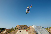 Clinton Johns riding DMR jump bike . The Track, Portreath , Cornwall . July 2013 . <br /> pic copyright Steve Behr / Stockfile