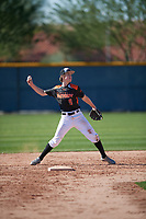 Aidan Kelly (9) of Los Gatos High School in Los Gatos, California during the Baseball Factory All-America Pre-Season Tournament, powered by Under Armour, on January 13, 2018 at Sloan Park Complex in Mesa, Arizona.  (Mike Janes/Four Seam Images)