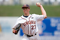 Starting pitcher Danny Hultzen #23 of the Virginia Cavaliers in action against the Miami Hurricanes at the 2010 ACC Baseball Tournament at NewBridge Bank Park May 29, 2010, in Greensboro, North Carolina.  The Cavaliers defeated the Hurricanes 12-8.  Photo by Brian Westerholt / Four Seam Images