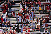 Arkansas fans cheer, Saturday, November 7, 2020 during a football game at Donald W. Reynolds Razorback Stadium in Fayetteville. Check out nwaonline.com/201108Daily/ for today's photo gallery. <br /> (NWA Democrat-Gazette/Charlie Kaijo)