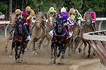 SARATOGA SPRINGS, NY - AUGUST 25: Catholic Boy  #11, ridden by jockey Javier Castellano, fights with Mendelssohn  #8, ridden by jockey Ryan Moore on the turn and forges ahead to win the Travers Stakes on Travers Stakes Day at Saratoga Race Course on August 25, 2018.in Saratoga Springs, New York. (Photo by Dan Heary/Eclipse Sportswire/Getty Images)