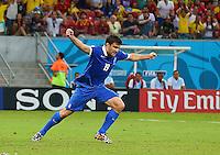 Sokratis Papastathopoulos of Greece celebrates scoring his goal to make the score 1-1