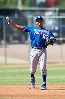 Kansas City Royals minor league infielder Maricio Ramos #63 during an instructional league game against the Seattle Mariners at the Peoria Sports Complex on October 2, 2012 in Peoria, Arizona. (Mike Janes/Four Seam Images)