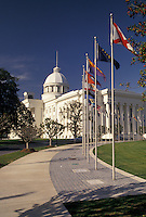 AJ4005, State Capitol, State House, Montgomery, Alabama, Flags of the states fly on the grounds of the State Capitol Building in the capital city of Montgomery in the state of Alabama.