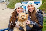 Enjoying a stroll in Ballybunion on Saturday, l to r: Laura Enright, Eddie the dog and Tara Kate Flavin.