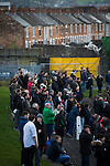 Glentoran 2 Cliftonville 1, 22/10/2016. The Oval, NIFL Premiership. Home supporters watching the first-half action at The Oval, Belfast as Glentoran host city-rivals Cliftonville in an NIFL Premiership match. Glentoran, formed in 1892, have been based at The Oval since their formation and are historically one of Northern Ireland's 'big two' football clubs. They had an unprecendentally bad start to the 2016-17 league campaign, but came from behind to win this fixture 2-1, watched by a crowd of 1872. Photo by Colin McPherson.