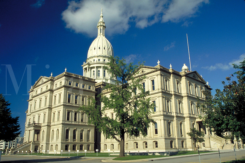 Michigan State Capitol Building after renovation. Lansing Michigan USA downtown.