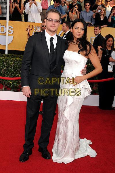 18 January 2014 - Los Angeles, California - Matt Damon, Luciana Barroso. 20th Annual Screen Actors Guild Awards - Arrivals held at The Shrine Auditorium. Photo Credit: Byron Purvis/AdMedia<br /> CAP/ADM/BP<br /> ©Byron Purvis/AdMedia/Capital Pictures