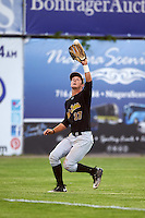 West Virginia Black Bears left fielder Hunter Owen (37) catches a fly ball during a game against the Batavia Muckdogs on June 29, 2016 at Dwyer Stadium in Batavia, New York.  West Virginia defeated Batavia 9-4.  (Mike Janes/Four Seam Images)