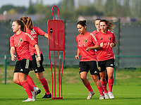20200911 - TUBIZE , Belgium : Davinia VanMechelen (left) and Lola Wajnblum (R), Jody Vangheluwe (at the back) pictured during a training session of the Belgian Women's National Team, Red Flames , on the 11th of September 2020 in Tubize. PHOTO SEVIL OKTEM | SPORTPIX.BE