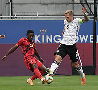 Belgium's Francis Amuzu (11) and Germany's caption Arne Maier (8) battle for the ball  during a soccer game between the national teams Under21 Youth teams of Belgium and Germany on the 5th matday in group 9 for the qualification for the Under 21 EURO 2021 , on tuesday 8 th of September 2020  in Leuven , Belgium . PHOTO SPORTPIX.BE | SPP | SEVIL OKTEM