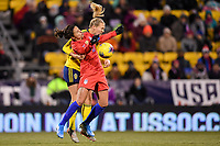 COLUMBUS, OH - NOVEMBER 07: Carli Loyd #10 of the United States battles for a ball during a game between Sweden and USWNT at MAPFRE Stadium on November 07, 2019 in Columbus, Ohio.