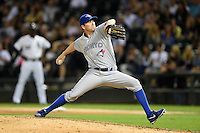Toronto Blue Jays pitcher Casey Janssen (44) delivers a pitch during a game against the Chicago White Sox on August 15, 2014 at U.S. Cellular Field in Chicago, Illinois.  Chicago defeated Toronto 11-5.  (Mike Janes/Four Seam Images)
