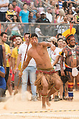 A Brazilian indigenous contestant throws the spear at the International Indigenous Games, in the city of Palmas, Tocantins State, Brazil. Photo © Sue Cunningham, pictures@scphotographic.com 25th October 2015