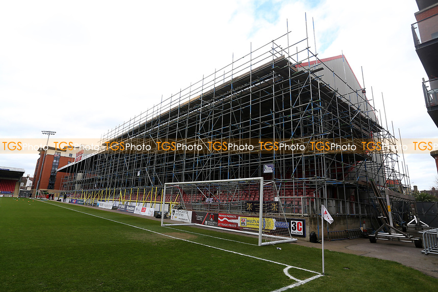 Scaffolding in place on the East Stand during Leyton Orient vs Oldham Athletic, Sky Bet EFL League 2 Football at The Breyer Group Stadium on 27th March 2021
