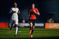 San Diego, CA - Sunday January 29, 2017: Juan Agudelo, David Bingham during an international friendly between the men's national teams of the United States (USA) and Serbia (SRB) at Qualcomm Stadium.