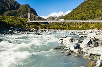 Fox River near Fox Glacier village and bridge with car, Westland National Park, West Coast, World Heritage Area, South Westland, New Zealand