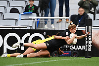 22nd May 2021; Eden Park, Auckland New Zealand;  Michaela Blyde dives over and scores a try. Black Ferns Womens Sevens versus Australia Women, Trans-Tasman Sevens at Eden Park, Auckland.