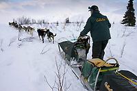 Jeff King on Trail Leaving Rainy Pass Chkpt AK 2005 Iditarod