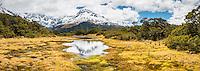 East Peak reflecting in alpine tarn on Key Summit, Fiordland National Park,  Southland, South Island, New Zealand