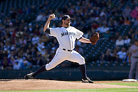 September 28, 2008: Seattle Mariners' R.A. Dickey toes the rubber against the Oakland Athletics at Safeco Field in Seattle, Washington.